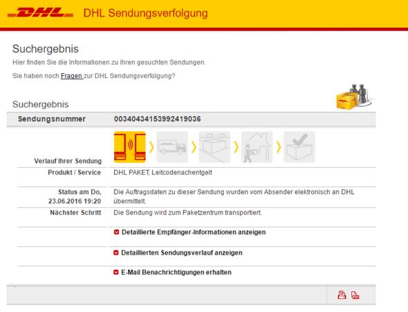 DHL Sendungsstatus vom 27.06 - (Versand, DHL, Deutsche Post)