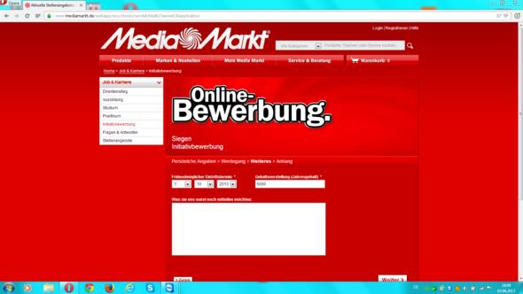 Screenshot - (Media Markt, Online-Bewerbung)