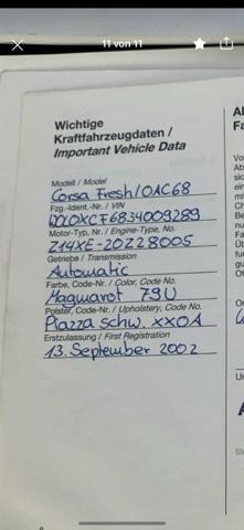 Opel Corsa C Baujahr 2002 wie viel PS und wie viele Zylinder?
