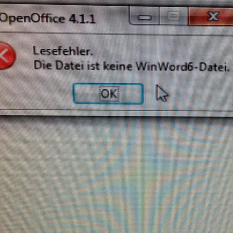 Fehlermeldung Open Office.  - (Computer, Microsoft, Datei)