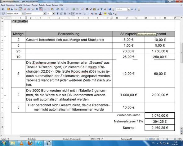 Openoffice writer tabelle formatieren rechnung open for Tabelle open office