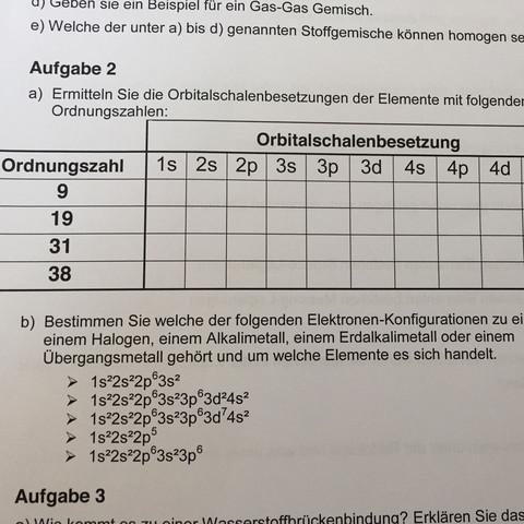 Aufgabe 2a und b - (Schule, Chemie, Periodensystem)