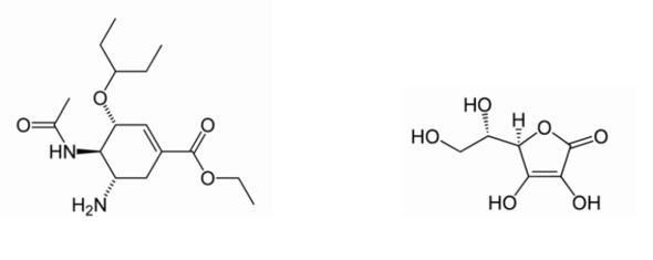 Oseltamivir (Tamiflu) [links] und Ascorbinsäure (Vitamin C) [rechts] - (Physik, Chemie, Biologie)