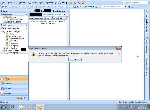 Das Ergebniss zeigt weder Unterordner noch Elemente darin an - (Outlook, Postfach, Exchange)