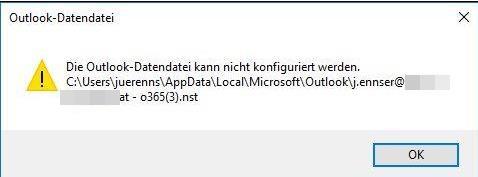 Outlook Datendatei kann nicht konfiguriert werden - (Computer, Microsoft, E-Mail)
