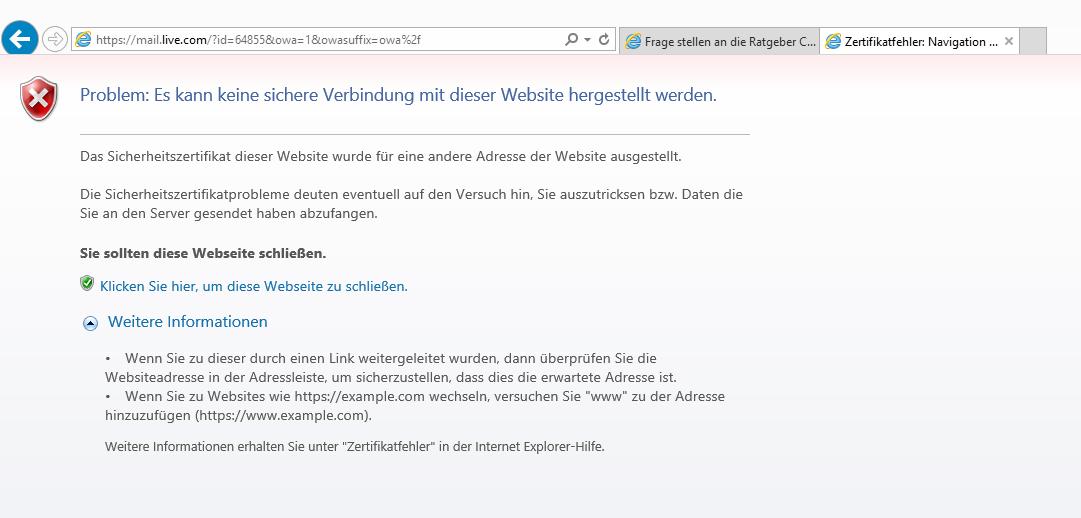 Outlook down....? Zertifikat Fehler? (Microsoft, Fehlermeldung ...