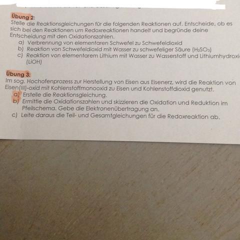 Oxidationszahlen und Redoxreaktionen? (Schule, Chemie, Hausaufgaben)