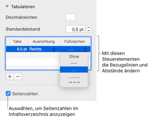 Pages - Füllzeichen im Inhaltsverzeichnis (mit iPad)?
