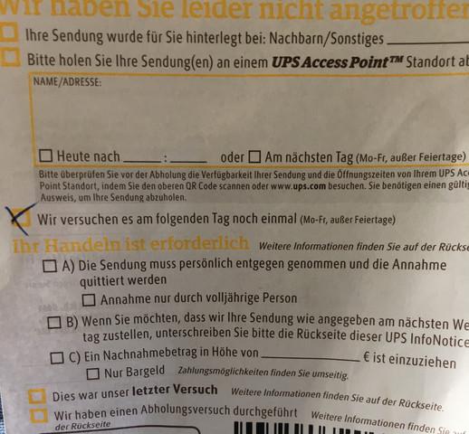 UPS Zettel  - (Post, Versand, UPS)
