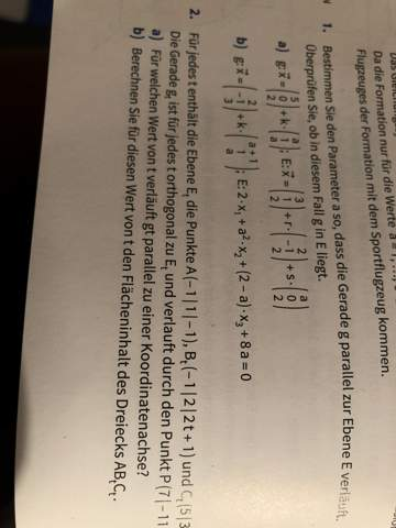 Parameter bestimmen, dass Gerade g parallel zur Ebene E verläuft?