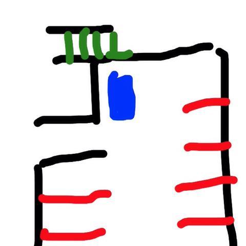 Blau, mein Fahrzeug, Grün die Treppe, Rot die Markierungen - (Recht, parken, rechtlich)
