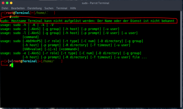Parrot Security OS  Hostname kann nicht aufgelöst werden?