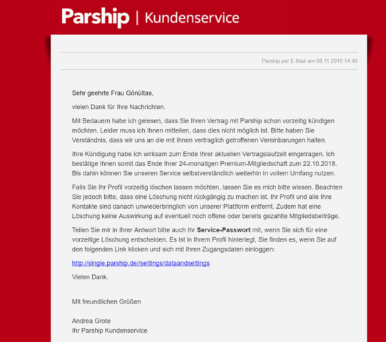 Parship Email Adresse