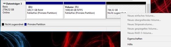 nicht zugeordnete Partition - (PC, Technik, Hardware)