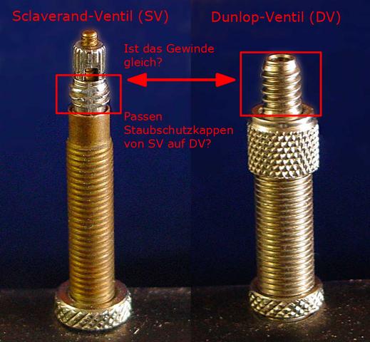 Vergleich Gewinde DV und SV - Staubschutzkappe - (Fahrrad, Schutz, ventil)