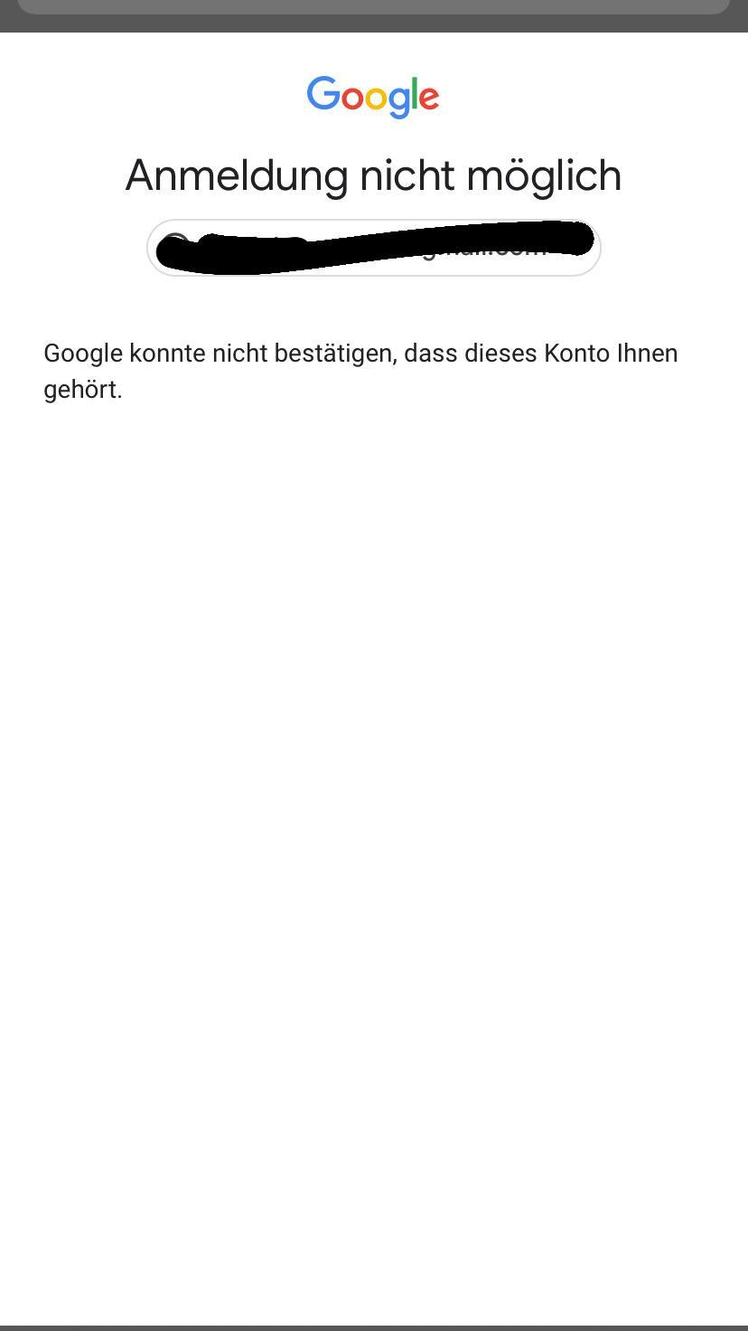 Bestätigen google ihnen dass dieses konto nicht gehört konnte Probleme mit