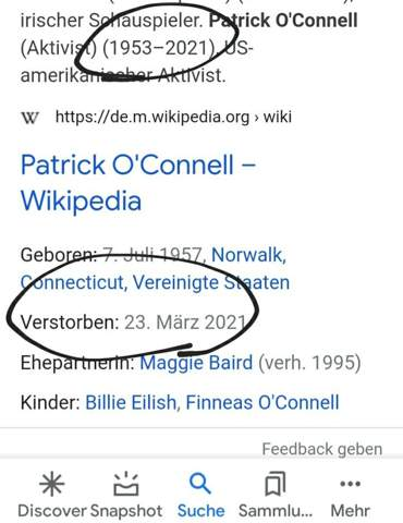 Patrick O'connell tot?