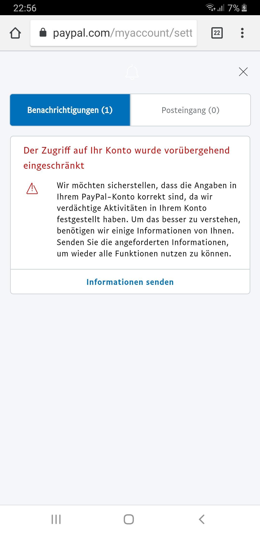 Paypal Account sofort nach Erstellung gesperrt? (Geld