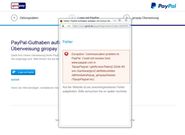 PayPal-Fehlermeldung - (PayPal, Guthaben, aufladen)