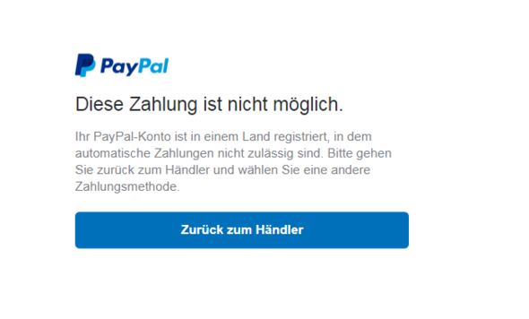 Paypal Automatische Zahlung Geht In Meinem Land Nicht Internet
