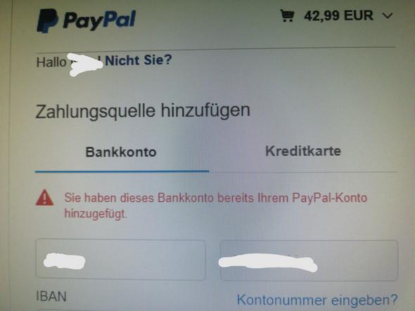 Paypal Bankkonto Bereits Hinzugefügt
