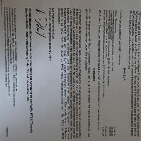 Paypal Forderung 50 Wegen 13 überziehung Schulden Inkasso