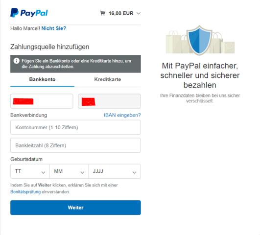 Paypal Fügen Sie Ein Bankkonto Oder Eine Kreditkarte Hinzu, Um Die Zahlung Abzuschließen.