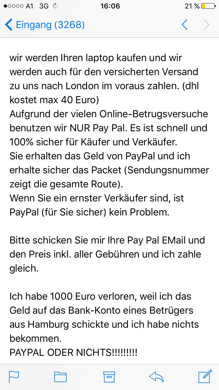 Paypal Geld Zurück