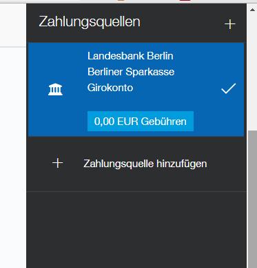 Zahlungsquelle - (PayPal, Guthaben)