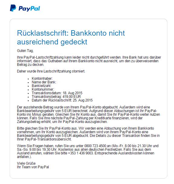 Paypal Konto Im Minus Inkasso