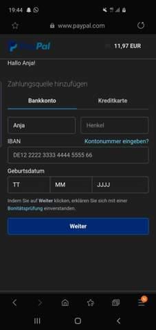 Paypal Zahlungsquelle