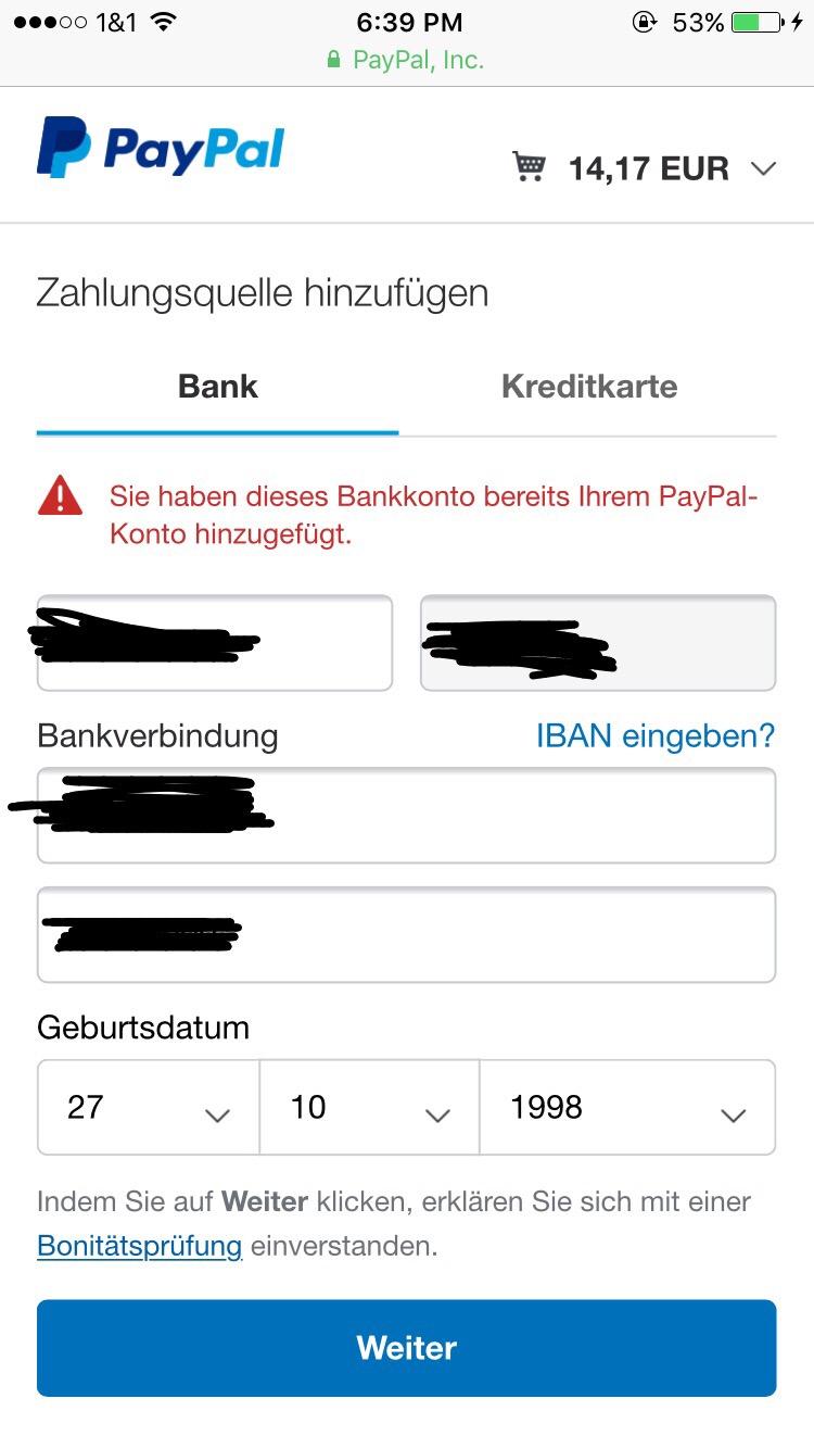 Paypal Kaufabwicklung Konto Bereits Hinzugefügt