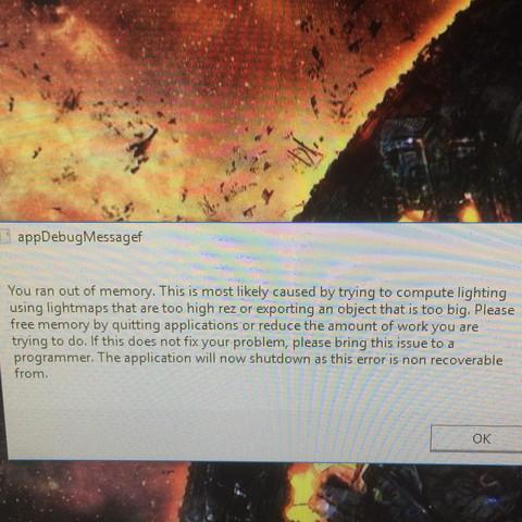 hier die fehlermeldung, sorry für die bildqualitä. - (Computer, out-of-memory, ZU wenig speicherplatz.)