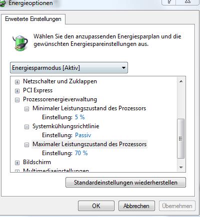 Energieoption Einstellungen - (Gaming, cpu, Gaming PC)