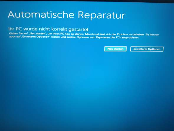 PC wurde nicht korrekt gestartet. Was nun?