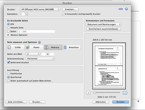 Screenshot Drucksicht - (drucken, Doppelseite)