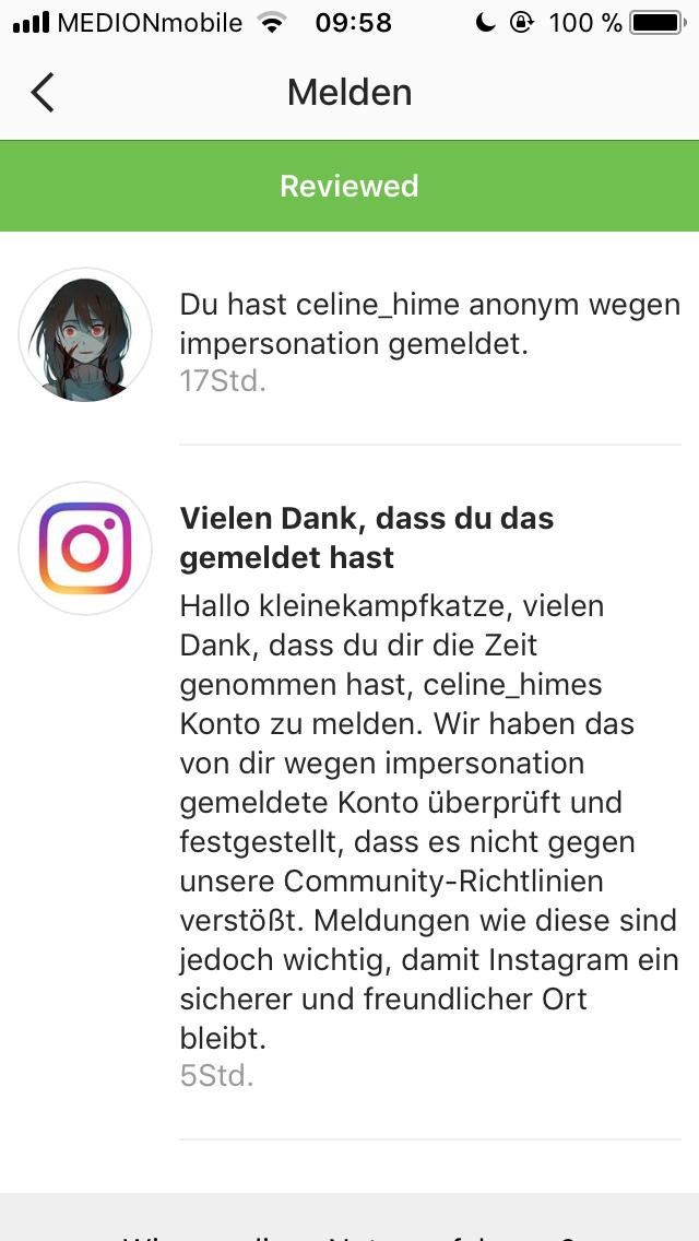 Wenn Sie ein Bild auf Instagram melden, ist es anonym