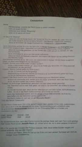 Informationszettel - (Schule, Religion, Christentum)