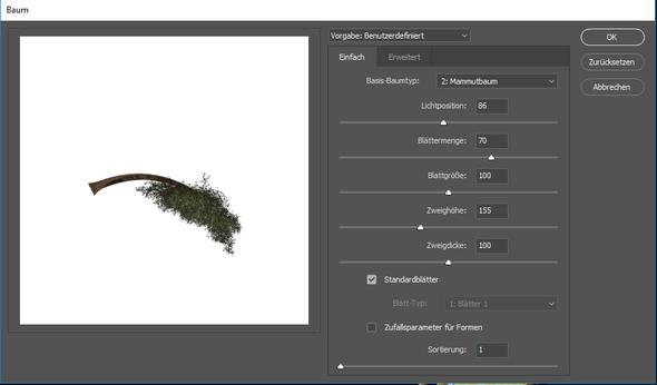 Photoshop Baum-Filter, wie drehe ich den Baum?!?