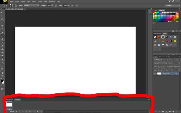 So sieht die Timeline bei mir aus - (Photoshop, Adobe, Animation)