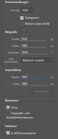 """Die """"Exportier"""" Opionen - (Datei, Photoshop)"""