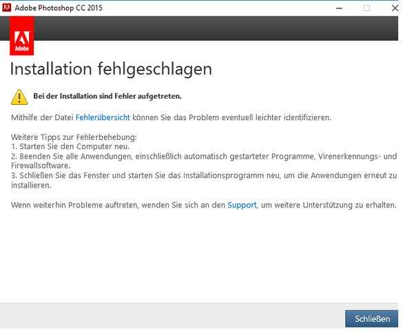 Fehlermeldung - (Photoshop, Adobe, Creative Cloud)