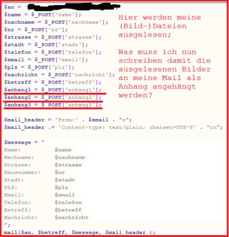 PHP Code - (html, Datei, Kontakt)
