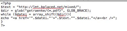COdebeispiel - (html, PHP, Error)