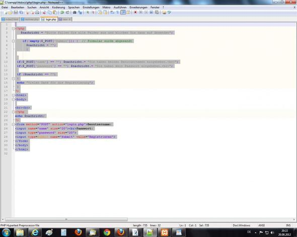 PHP Problem Screenshoot - (html, Programmierung, PHP)