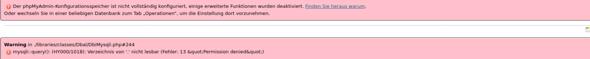phpMyAdmin: Fehler bei der Konfiguration?