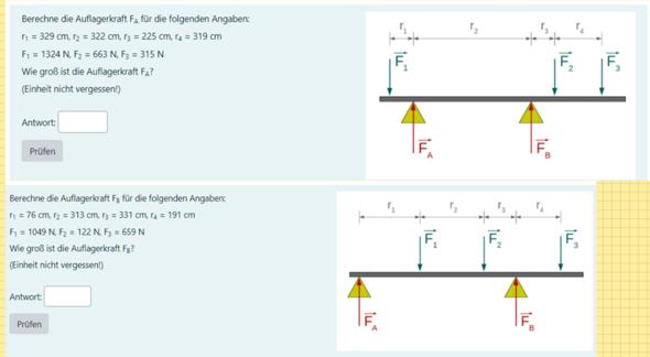 Physik: Auflagerkräfte Berechnung?