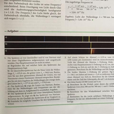 Aufgabe 1b  - (Physik, Q1, Wellenlänge)