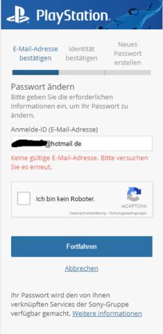 Fehlermeldung - (Konsolen, E-Mail, Playstation network)