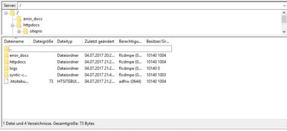 Plesk Server in FileZilla - (Webseite, Webspace, Standard)